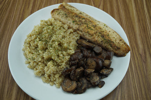 Pan-Cooked Cod with Mushrooms & Quinoa