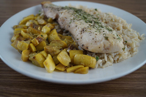 Pan-Fried Cod with Rice & Sauteed Squash