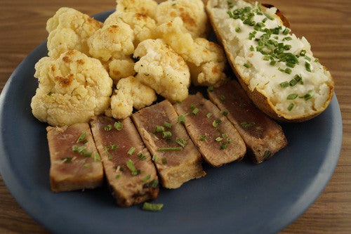 Pan-Seared Ahi Tuna with Baked Potato & Sauteed Cauliflower