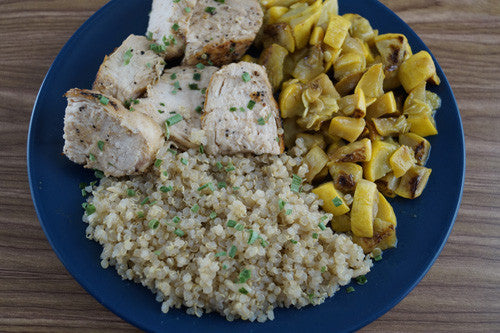 Pan-Seared Chicken with Quinoa and Sauteed Squash