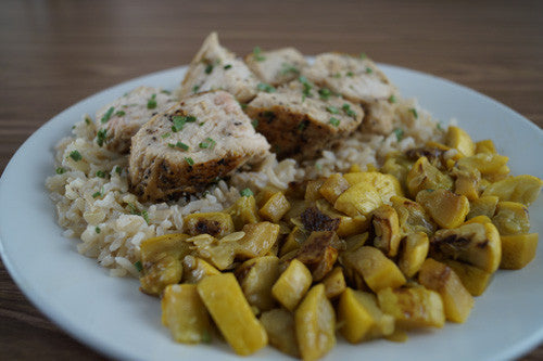 Pan-Cooked Chicken with Sauteed Squash & Rice