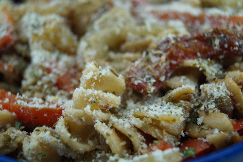 Semi-Sophisticated Pasta with Onions, Peppers & Canned Salmon Skillit Cooking
