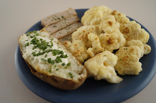 Pan-Fried Pork Chop with Baked Potato and Cauliflower