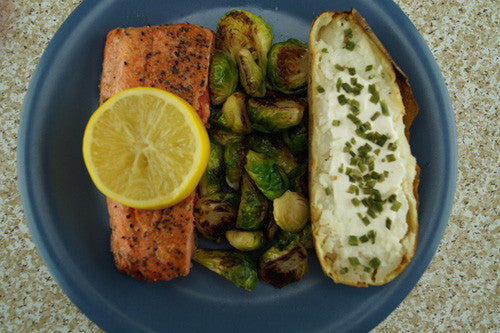 Honey-Lemon Salmon & Sprouts with a Baked Potato