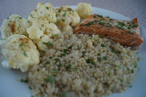 Sriracha-Honey Salmon with Quinoa & Cauliflower