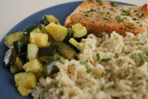 Lemon-Pepper Salmon with Zucchini & Rice