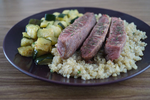 Sliced Sirloin with Quinoa & Zucchini