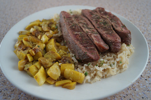 Easy-Peasy Seared Steak with Sauteed Squash & Rice