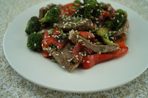Sesame Steak Stir-Fry with Broccoli & Bell Peppers Skillit Cooking