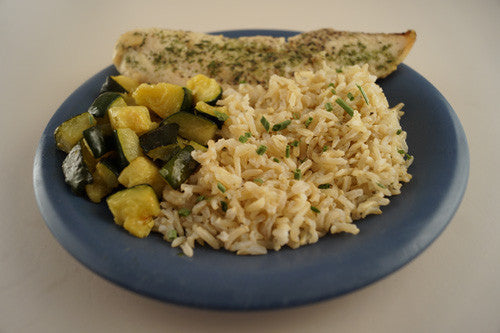 Caribbean-Jerk Whitefish & Zucchini with Rice