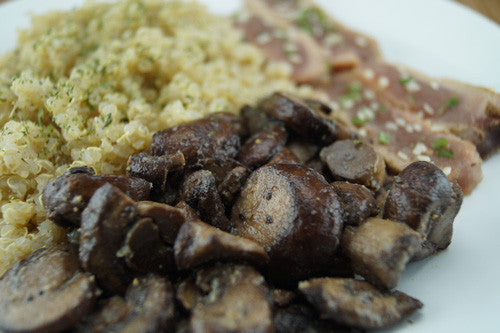 Fancy-Pants Ahi Tuna with Mushrooms & Quinoa