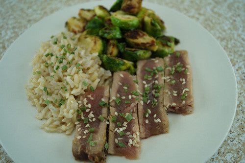 Seared Ahi with Brussels Sprouts & Rice