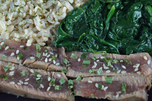 Sesame Seared Ahi with Spinach & Rice