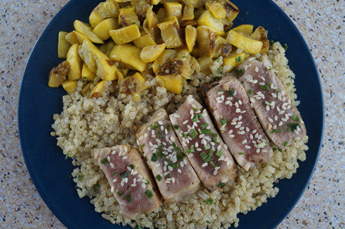 Seared Ahi Tuna with Sauteed Squash & Quinoa