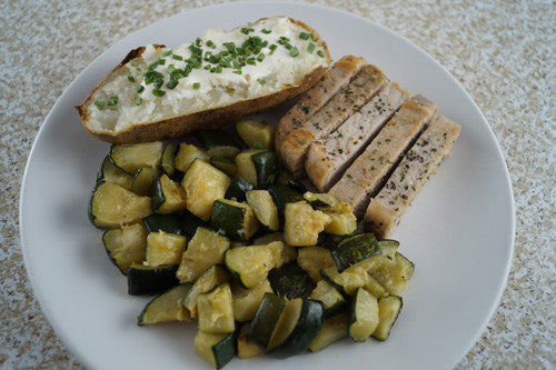 Pan-Cooked Pork & Zucchini with a Baked 'Tater