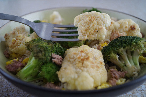 Egg-Fried Rice Bowl with Beef, Broccoli & Cauliflower