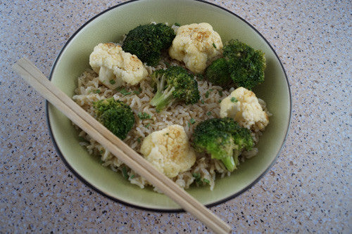 Broccoli & Egg-Fried Rice with Sliced Lamb