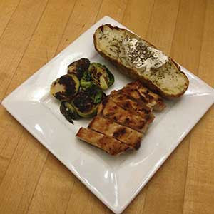 balsamic-glazed-brussels-sprouts-with-pan-seared-chicken-&-baked-'tater-skillit-simple-easy-recipes-dinner-skillet