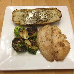 buttery-whitefish-with-pan-fried-brussels-sprouts-&-baked-potato-skillit-simple-easy-recipes-dinner-skillet