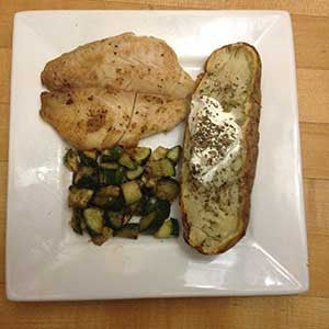 pan-cooked-cod,-sauteed-zucchini-&-baked-potato-skillit-simple-easy-recipes-dinner-skillet