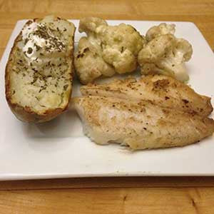 pan-fried-cod-with-sauteed-cauliflower-&-baked-potato-skillit-simple-easy-recipes-dinner-skillet
