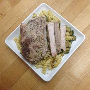 squash-and-zucchini-pasta-with-pan-fried-pork-chop-skillit-simple-easy-recipes-dinner-skillet
