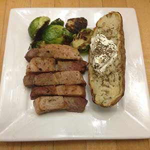 the-midwesterner's-diet:-pork,-sprouts-&-baked-'tater-skillit-simple-easy-recipes-dinner-skillet