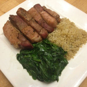 pan-fried-pork-with-quinoa-&-spinach-skillit-simple-easy-recipes-dinner-skillet