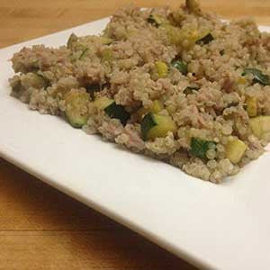 squash-and-zucchini-quinoa-bowl-with-tuna-skillit-simple-easy-recipes-dinner-skillet