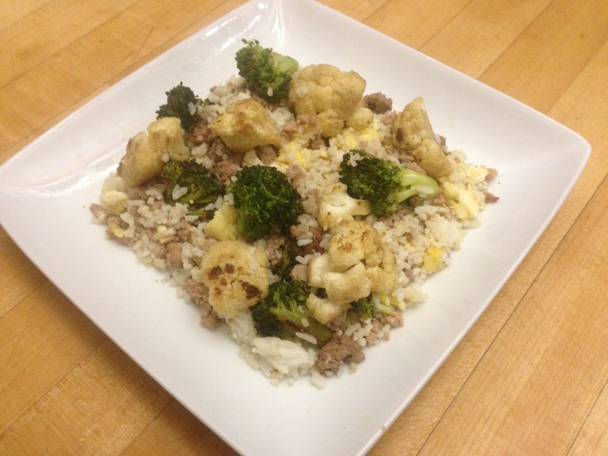 egg-&-chicken-fried-rice-with-broccoli-&-cauliflower-skillit-simple-easy-recipes-dinner-skillet