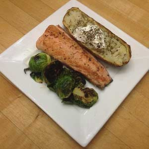 honey-lemon-salmon-&-sprouts-with-a-baked-potato-skillit-simple-easy-recipes-dinner-skillet