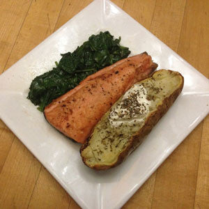 seared-salmon-with-sautéed-spinach-&-baked-potato-skillit-simple-easy-recipes-dinner-skillet