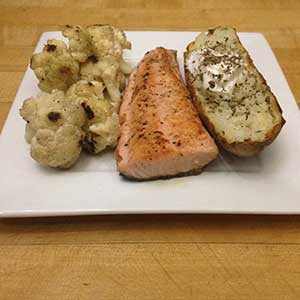 pan-seared-salmon-with-sauteed-cauliflower-&-baked-potato-skillit-simple-easy-recipes-dinner-skillet