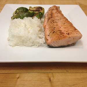 pan-cooked-salmon-&-sprouts-with-a-side-of-rice-skillit-simple-easy-recipes-dinner-skillet