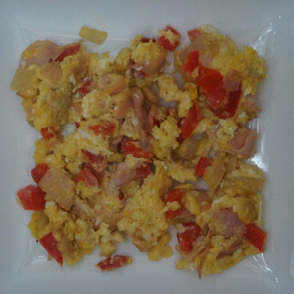 skillit-cooking-simple-easy-recipe-scramble-egg-ham-bellpepper