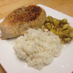 pan-fried-chicken-with-sides-of-sauteed-squash-&-rice-skillit-simple-easy-recipes-dinner-skillet