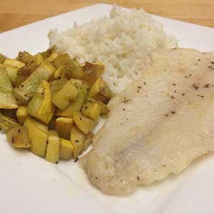 seared-cod-with-sides-of-sauteed-squash-&-rice-skillit-simple-easy-recipes-dinner-skillet