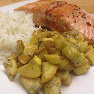 pan-seared-salmon-with-sides-of-sauteed-squash-&-rice-skillit-simple-easy-recipes-dinner-skillet