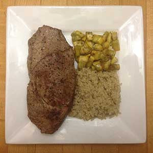 pan-seared-steak-with-sides-of-sauteed-squash-&-quinoa-skillit-simple-easy-recipes-dinner-skillet