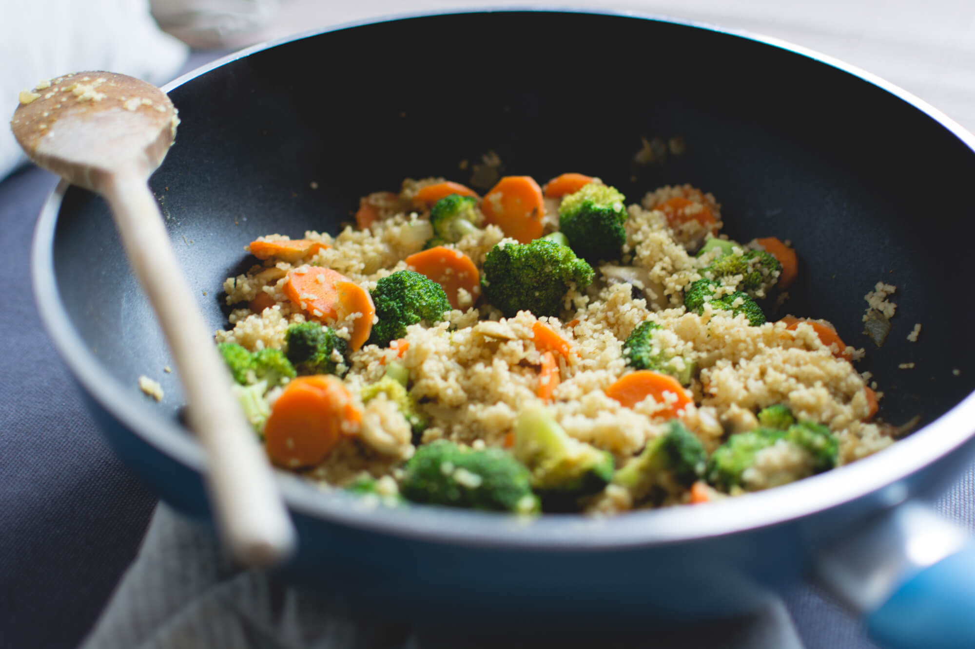 Easy Egg-Fried Quinoa<br><span>with Broccoli + Cauliflower</span>