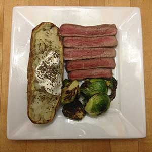 the-steakhouse-special-with-brussels-sprouts-&-baked-'tater-skillit-simple-easy-recipes-dinner-skillet