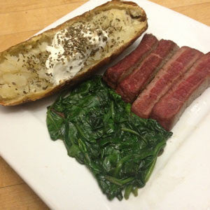 the-celebration:-seared-sirloin,-sautéed-spinach-&-baked-tater-skillit-simple-easy-recipes-dinner-skillet
