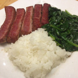 pan-seared-steak-with-spinach-&-rice-skillit-simple-easy-recipes-dinner-skillet