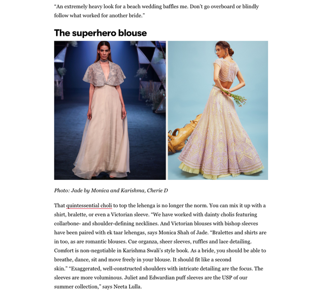 THE SUPER HERO BLOUSE: Wedding Trends by VOGUE, India