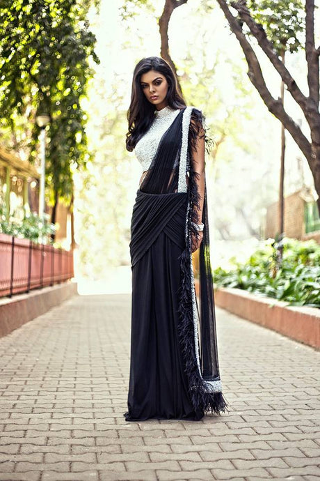Crystal & Feather Drape Cocktail Saree