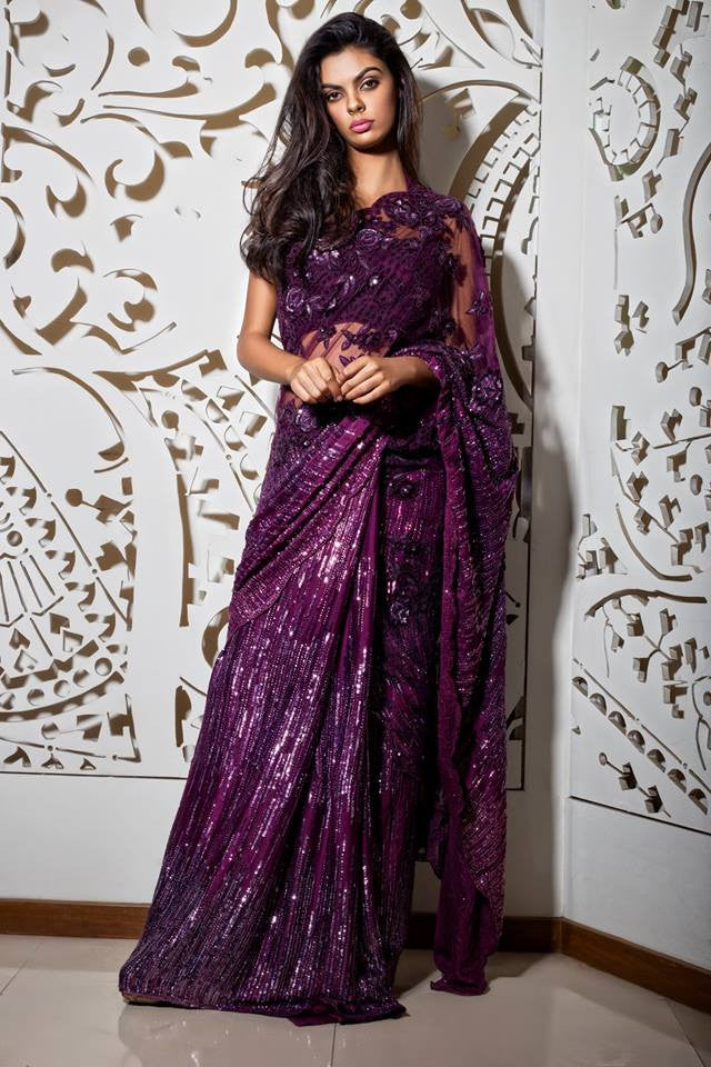 Purple Embellished Saree