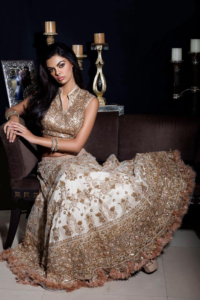 Gold Embellished Lehenga Set with Feathers