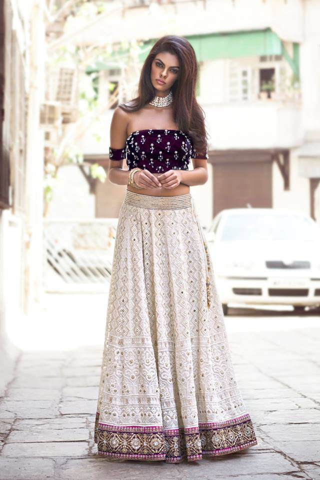 Velvet and Chikan Lehenga Set
