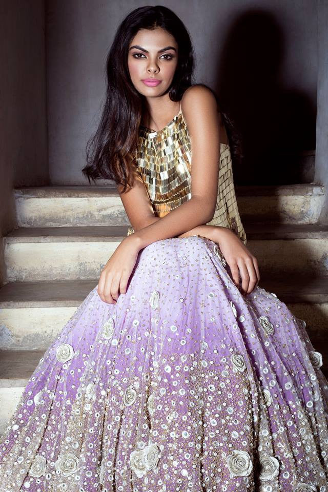 Lilac Rose Embellished Lehenga Set