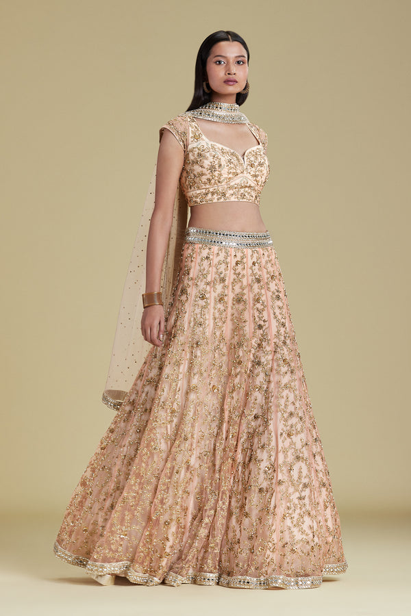 PEACH GOLD LEHENGA SET